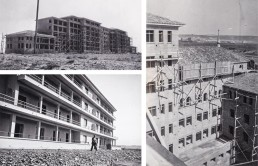 Fotos antiguas de la construcción del Hospita Royo Villanova de Zaragoza.
